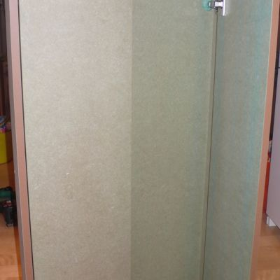 This bathroom cabinet is designed to be tiled into a bathroom wall