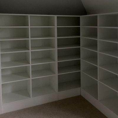 walk in wardrobe shelves in white