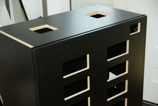 Cutouts in cabinet door and top panel