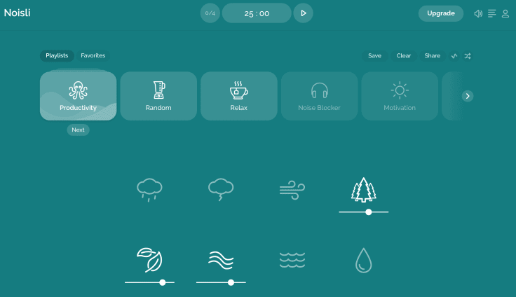 Noisli for office sounds