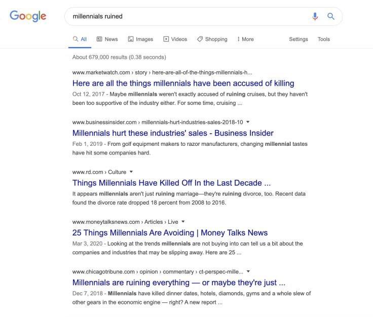 """Google SERP for a """"millennials ruined"""" keyword."""