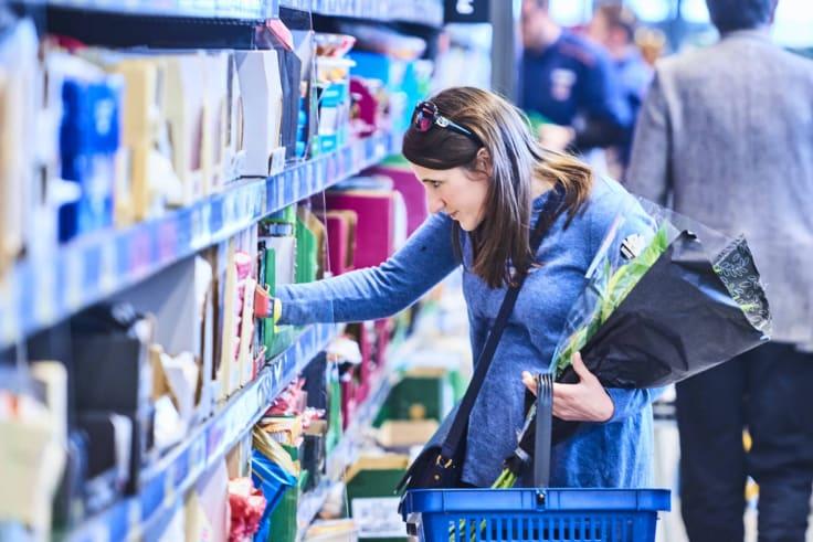 Customers shopping at Aldi