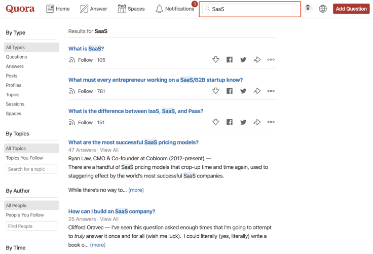 Generating content ideas from Quora search bar.