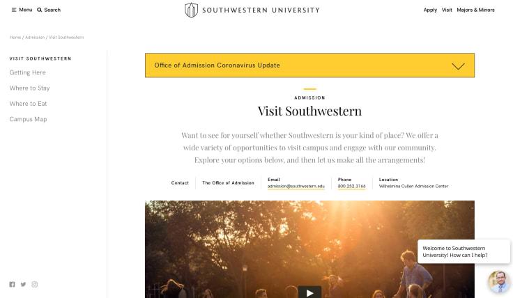 Southwestern University using LiveChat