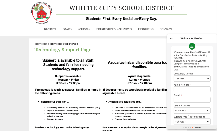 Whittier City School District using LiveChat