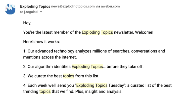 The way Exploding Topics work