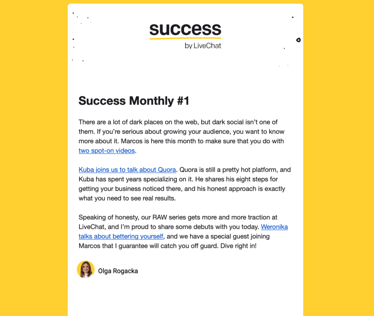 Success newsletter