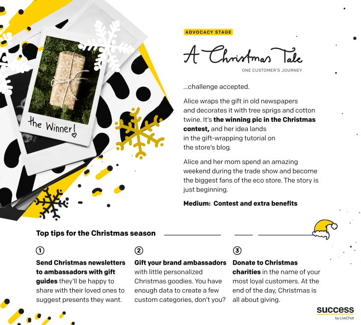"Infographic - ""A Christmas Tale - One customer's journey"" - Christmas season tips for ecommerce - advocacy stage"