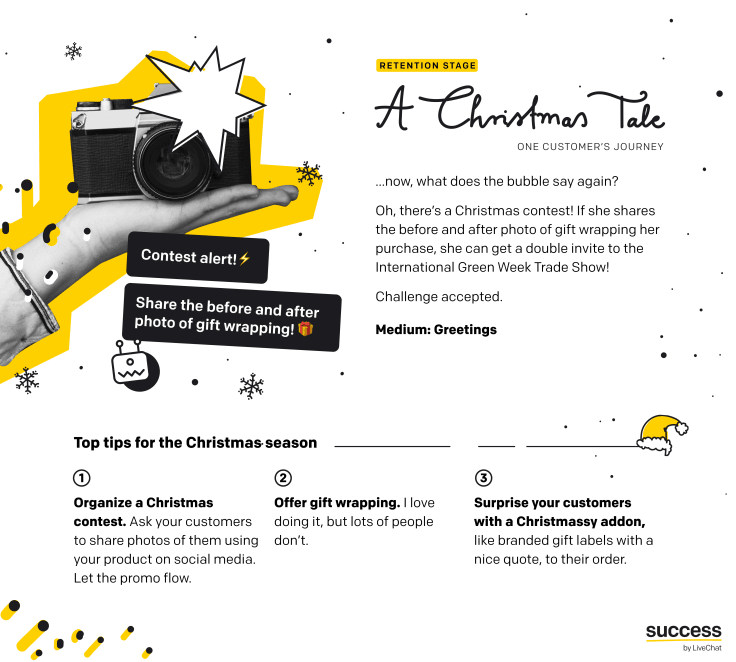 "Infographic - ""A Christmas Tale - One customer's journey"" - Christmas season tips for ecommerce - retention stage"