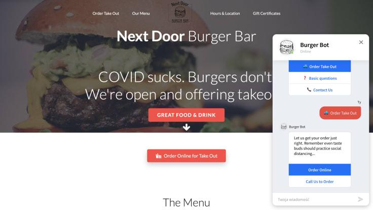 The chatbot on the next door burger bar website