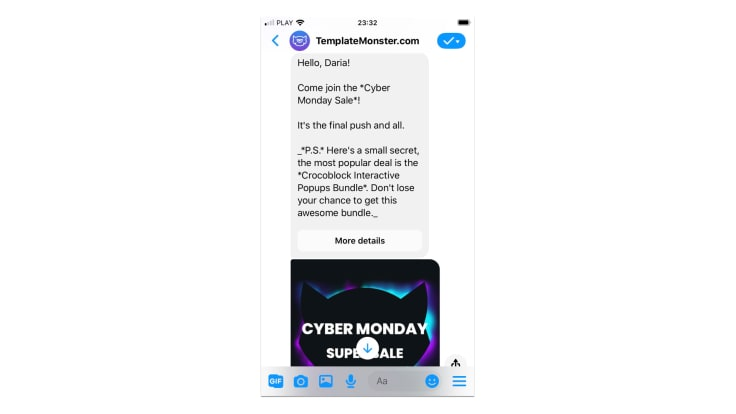 TemplateMonster bot on Messenger