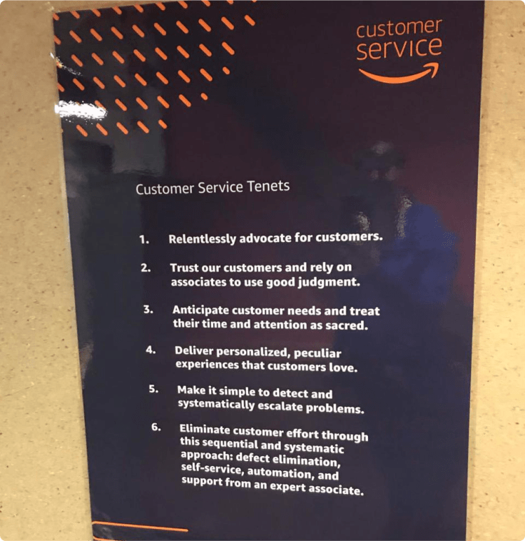 Amazon's Customer Service Tenets as an example of a customer engagement program