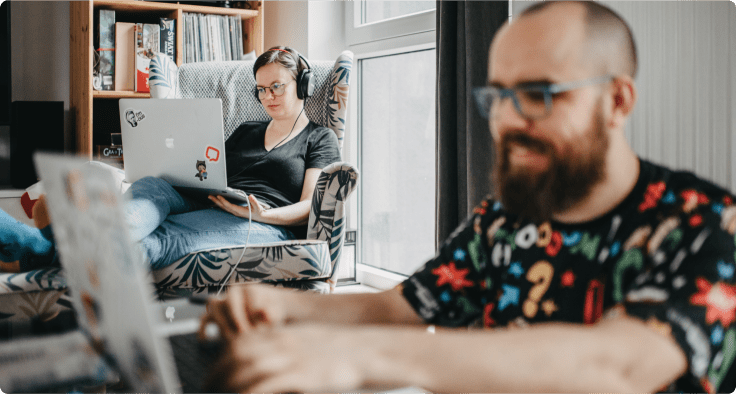 married couple working remotely