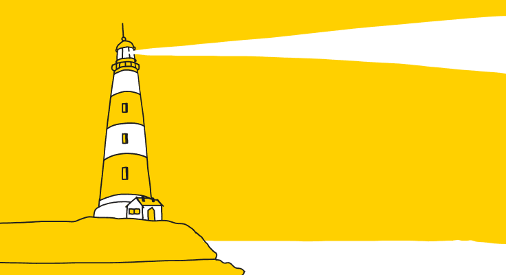 A graphic presenting a lighthouse, a reference to Google Lighthouse.