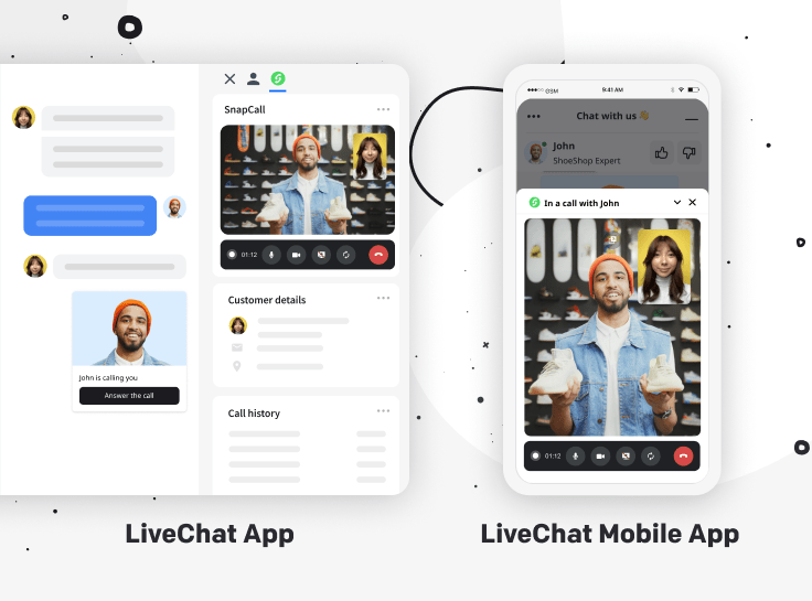 A graphic presenting the SnapCall integration in the LiveChat app and LiveChat mobile app.