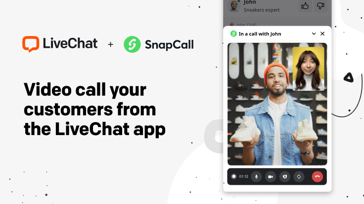 A graphic presenting the SnapCall integration with LiveChat.
