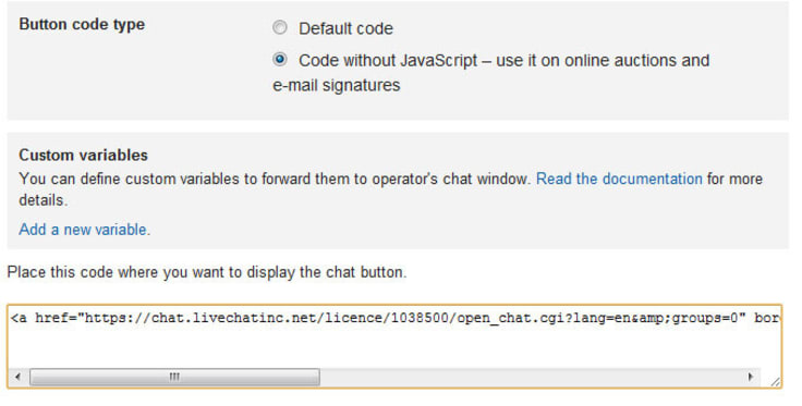 Email button in LiveChat