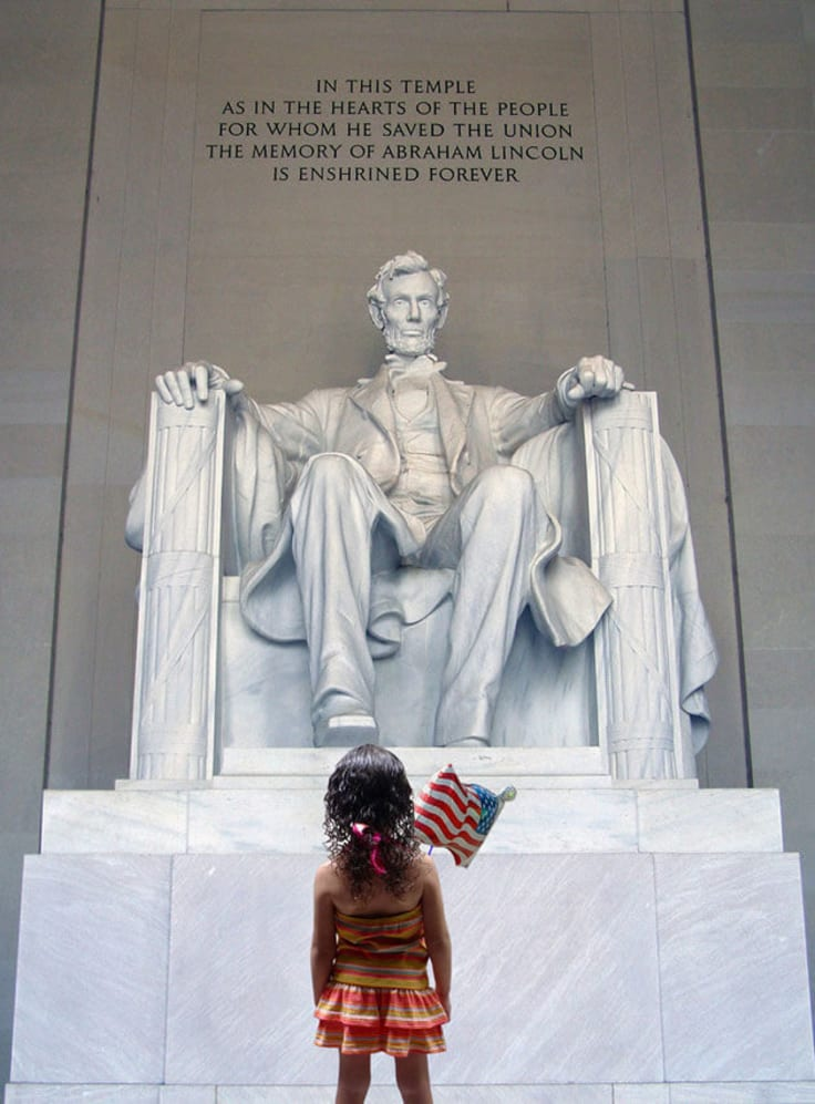 Abraham Lincoln statue little girl watching