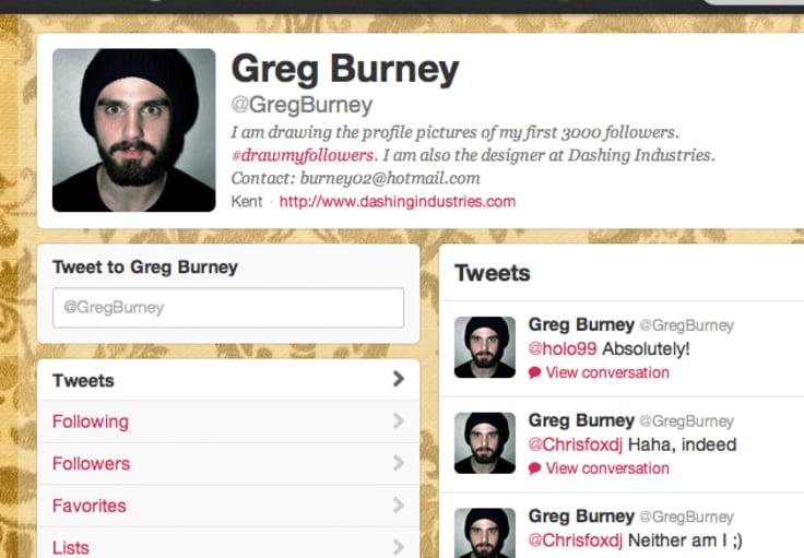 Greg Burney's #DrawMyFollowers