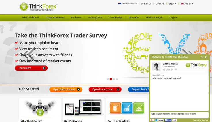 LiveChat on ThinkForex
