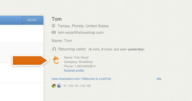 Customer data displayed in LiveChat using an integration with Nutshell