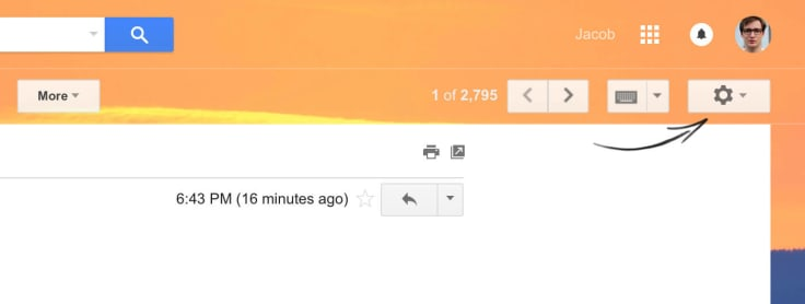 Accessing Gmail settings