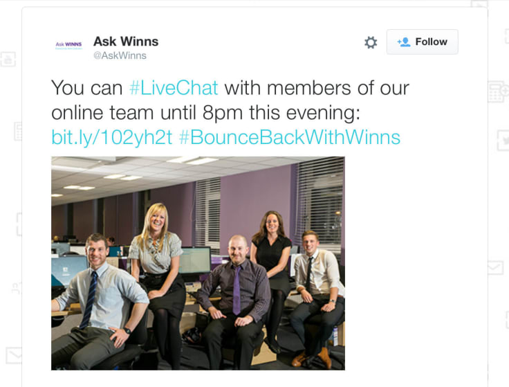 Ask Winns live chat team introduction