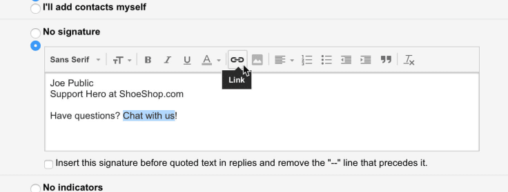 Setting up an email signature in Gmail