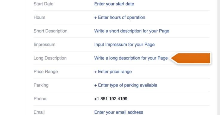 Adding a long description to Facebook