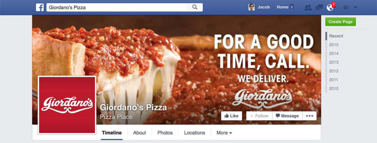 Facebook Fan Page for Business via Giordano's