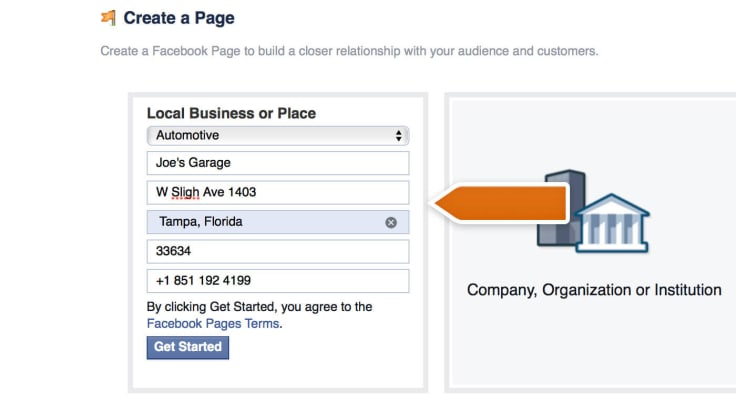 Adding business page details