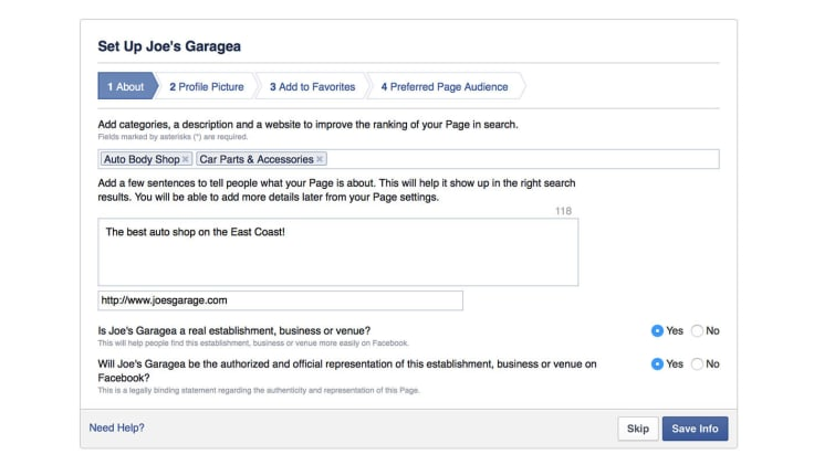 Filling out Facebook page info
