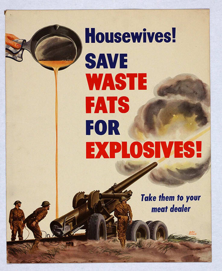 Saving Waste Fat WW2 Call to Action Poster