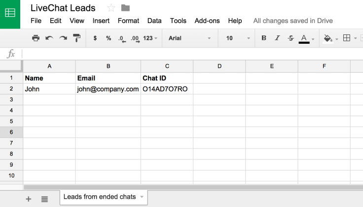 Spreadsheet with live chat leads