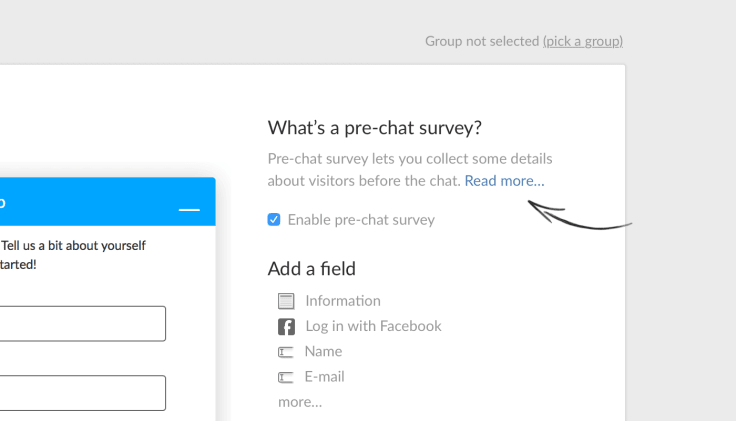 Pre-chat survey live chat