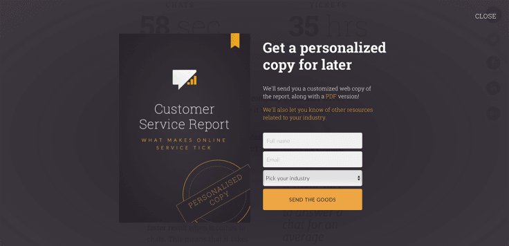 Testing a popup on a landing page