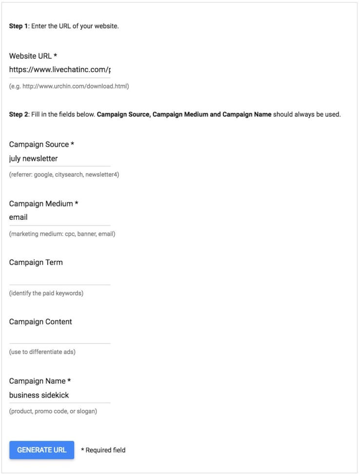URL Builder tool