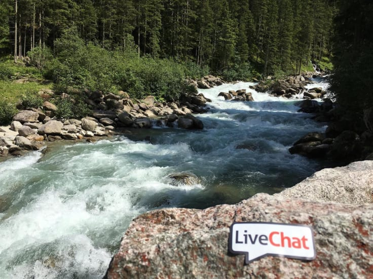 Livechat sticker mountain river Alps