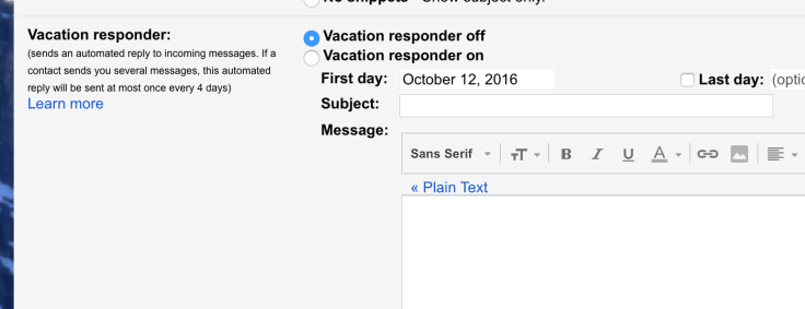 Out of office email Vacation responder