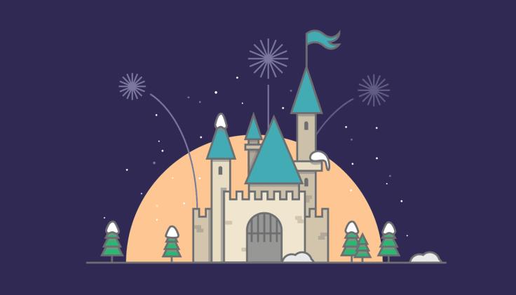 Disney castle illustration customer journey
