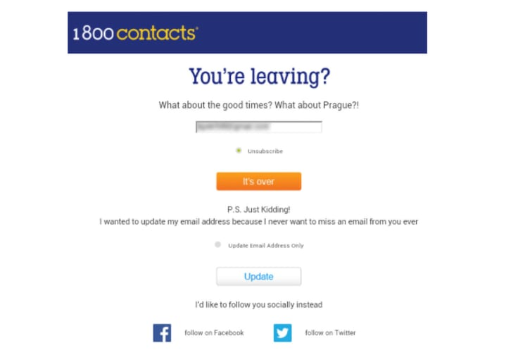 1-800 unsubscribe page