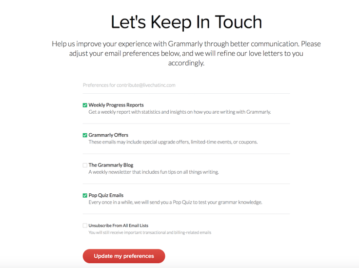 LiveChat unsubscribe email