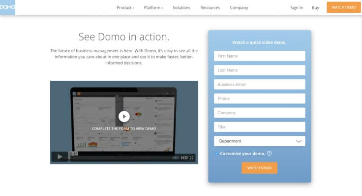 Domo landing page best practices