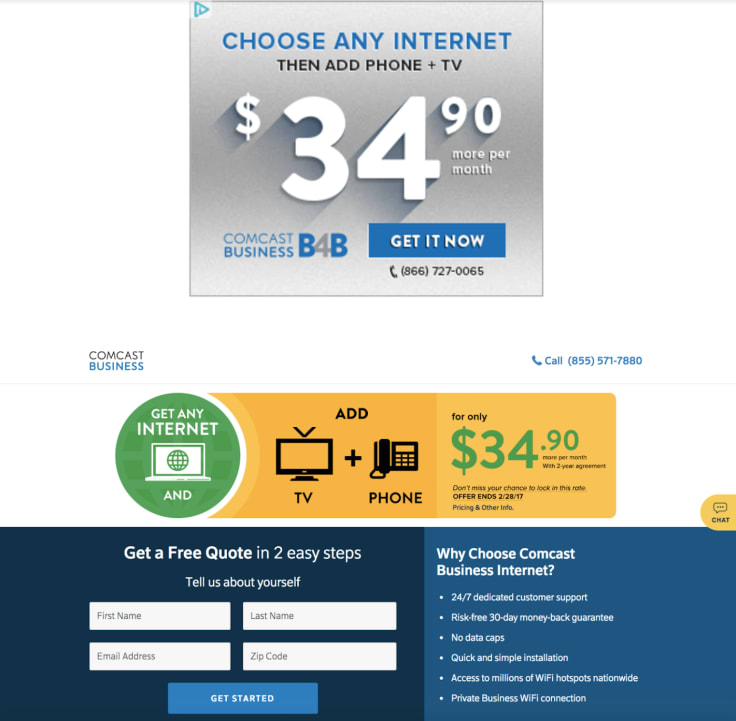 Comcast Landing page best practices