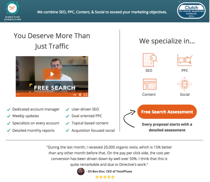 Directive consulting landing page best practices