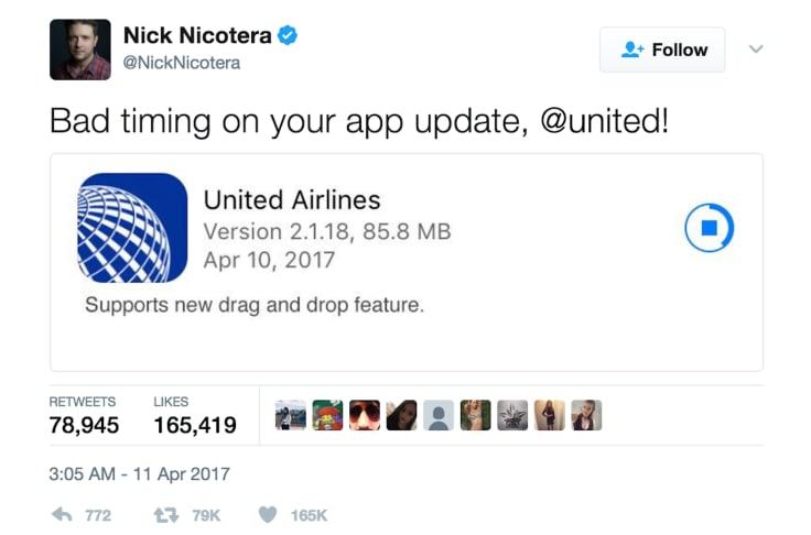 Tweet United Airlines app update