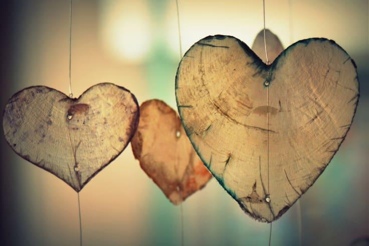 Wood hearts hanging