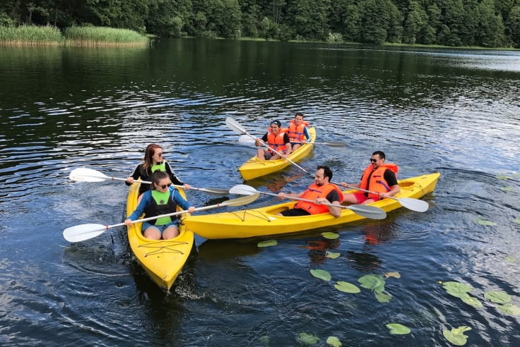 Teamwork activities on water