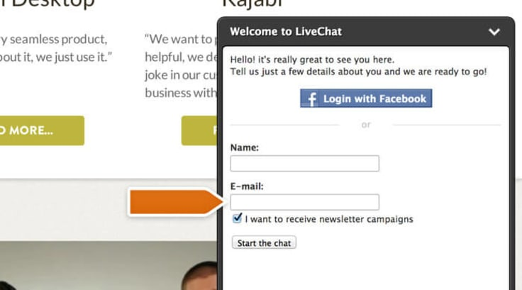 LiveChat user opt-in