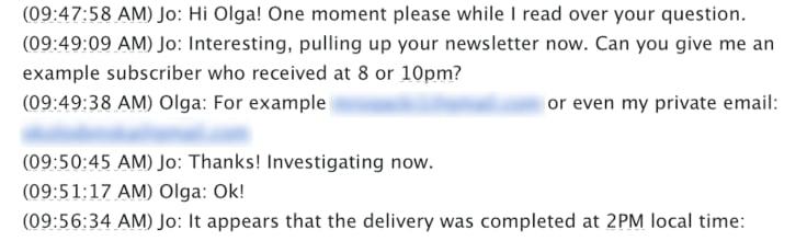 Mailchimp customer service